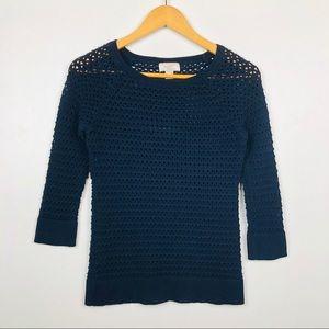 Loft Navy Open Knit Sweater 3/4 Sleeve S